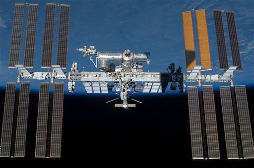 (NASA via AP). An undated photo provided by NASA shows the International Space Station in orbit. On Monday, May 16, 2016, the International Space Station made its 100,000th orbit circling of the world.