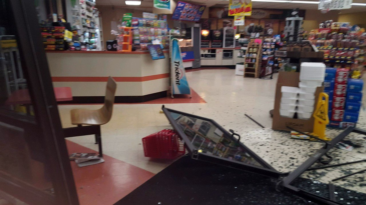 Workers at the Sav-A-Step in Floyds Knobs spent Thursday morning cleaning up after a stolen pickup truck came crashing through the front door.