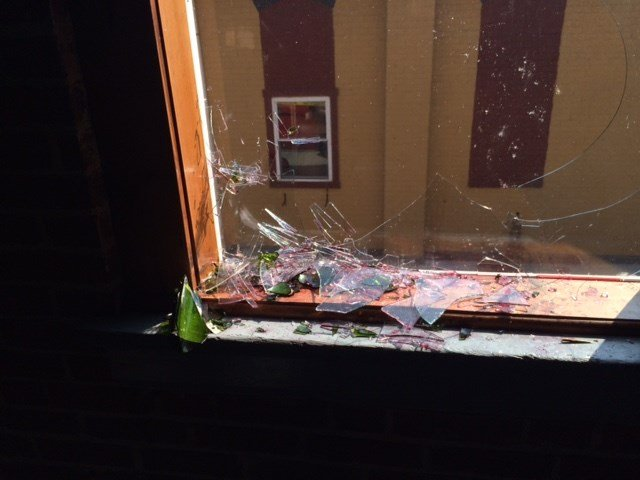 A vandal smashed windows at a historic firehouse in Jeffersonville.