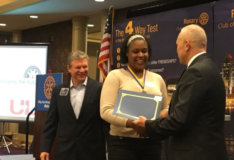 Jayda Rhodes is among 31 seniors awarded scholarships from the Louisville Rotary Club on Thursday (Photo by Toni Konz, WDRB News)