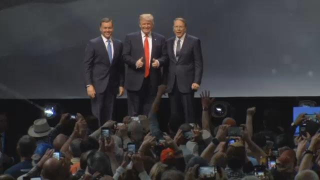 Trump attends the NRA convention in Louisville