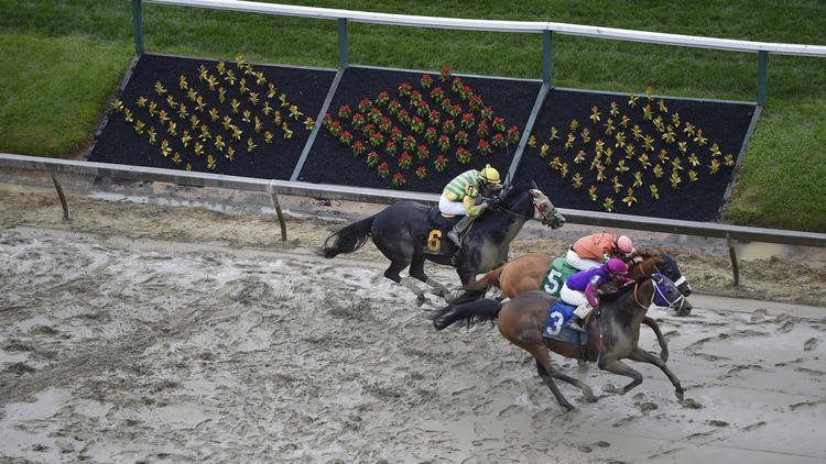 Homeboykris, ridden by Horacio Karamanos, wins the first race of the day on a muddy track ahead of the 141st Preakness Stakes horse race at Pimlico Race Course, Saturday, May 21, 2016, in Baltimore. He collapsed on his way back from the winner's circle an