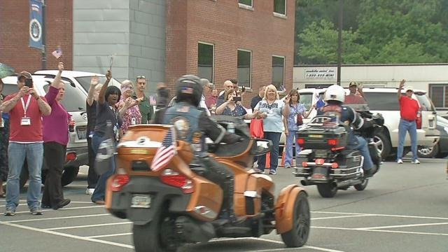 Over 300 motorcyclists traveling across the country to honor veteransmadea stop in Louisville Wednesday.