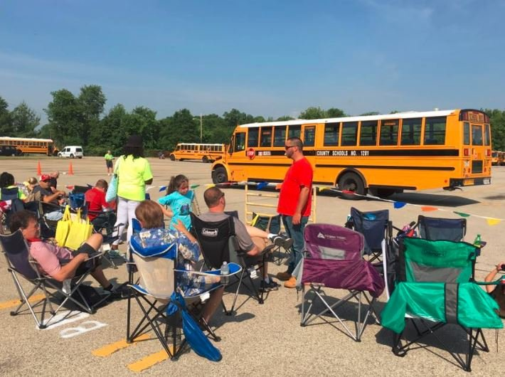 Hundreds of people attend the annual JCPS Bus Safety Road-E-O each year (Photo by Toni Konz, WDRB News)