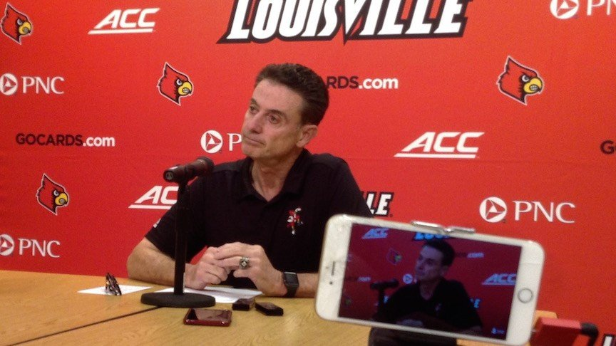 Rick Pitino meets with reporters on Tuesday. (WDRB photo by Eric Crawford)
