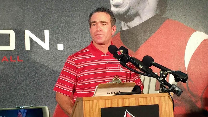 Louisville baseball coach Dan McDonnell talks about his new $10 million contract. (WDRB photo by Eric Crawford)