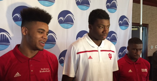 IU players (from left) Juwan Morgan, Thomas Bryant and Josh Newkirk joined Tom Crean at Huber's Wednesday night.
