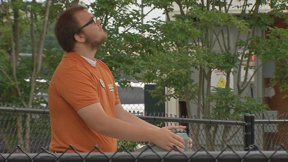 A worker at Kentucky Kingdom amusement park