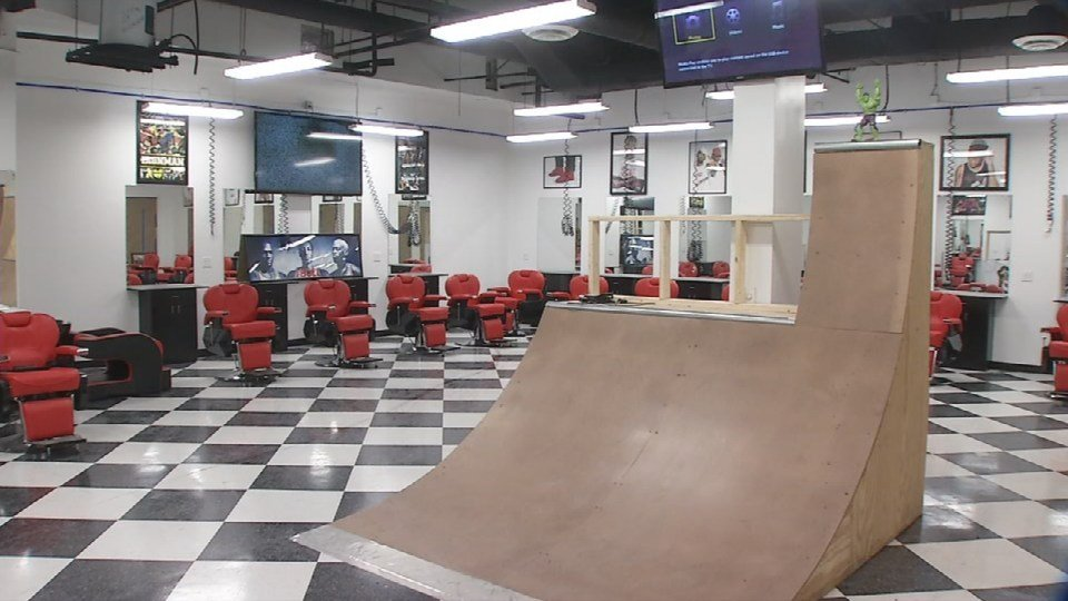 This half-pipe inside the Corner Barbershop is a big draw for the younger crowd.