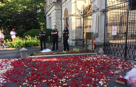 Flower petals lining the drive way into Cave Hill Cemetery (Photo by Jacob Davis, WDRB News)