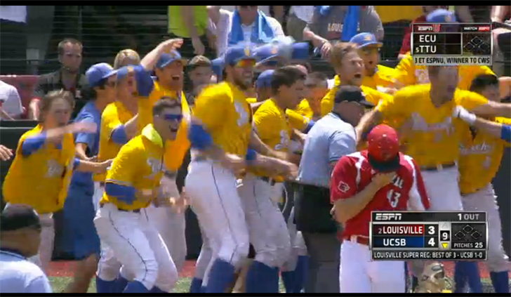 ESPN screen shot. UCSB celebrates, while Zack Burdi walks away.