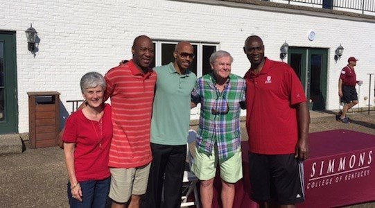 Former U of L basketball secretary Judy Cowgill, Milt Wagner, Darrell Griffith, Denny Crum and Wiley Brown attended the Simmons College golf scramble Monday.