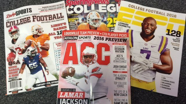 Four major college football pre-season magazines have arrived for the 2016 season.