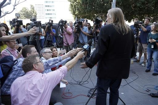 (AP Photo/Nick Ut). Michael Skidmore, trustee for Randy Wolfe, the late member of the band Sprit, speaks at a news conference outside federal court in downtown Los Angeles on Thursday, June 23, 2106.