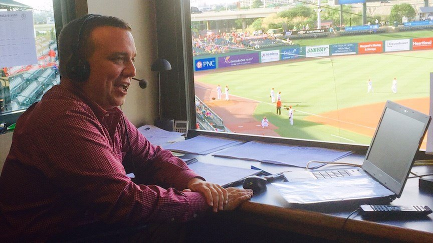 Matt Andrews chats before his final game in Louisville Slugger Field (WDRB photo by Eric Crawford)