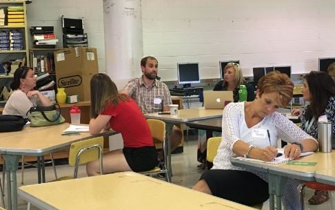 This EdCamp session was about teacher collaboration (Photo by Toni Konz, WDRB News)