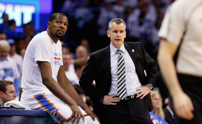 Former Florida coach Billy Donovan (right) lost Kevin Durant Monday and could lose Russell Westbrook soon.