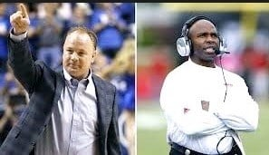 Mark Stoops of Kentucky (left) and Charlie Strong of Texas are listed on at least four pre-season Hot Seat Lists for the 2016 college football season.