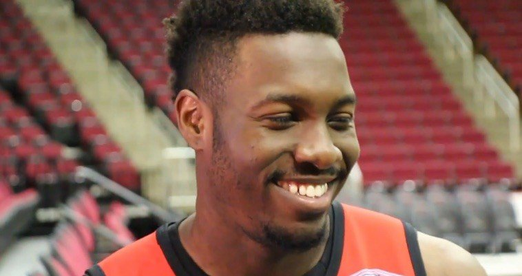 Former University of Louisville center Chinanu Onuaku meets with reporters for the first time before beginning summer league play for the Houston Rockets (Houston Rockets screen shot)