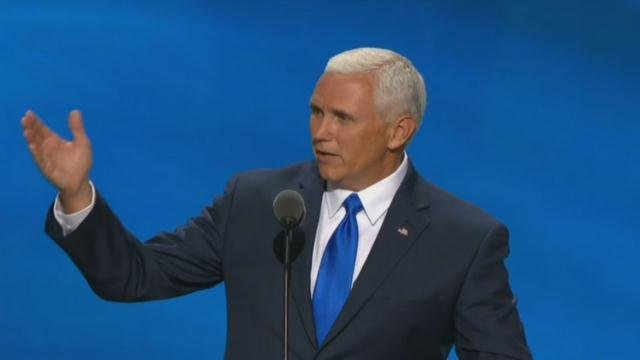 Indiana Gov. Mike Pence delivered his acceptance speech for VP to an approving crowd at the Republican National Convention.