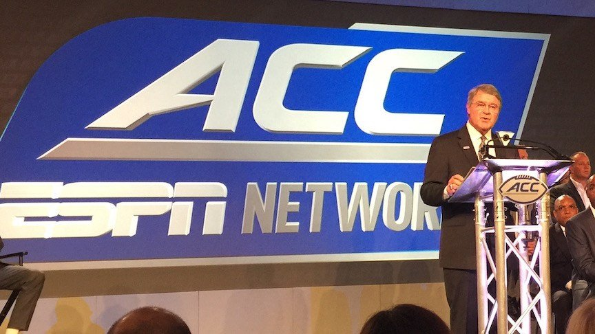 ACC commissioner John Swofford announces a deal to launch the ACC Network in 2019. (WDRB photo by Eric Crawford)
