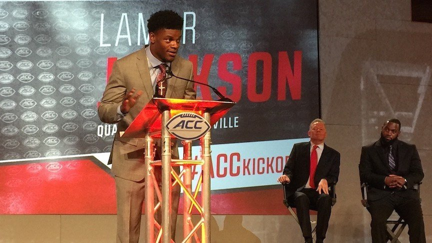 Louisville's Lamar Jackson talks with reporters at ACC Media Days in Charlotte, N.C. (WDRB photo by Eric Crawford)