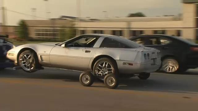 Police say this stolen Corvette was intentionally crashed into a gun store on Fern Valley Road.