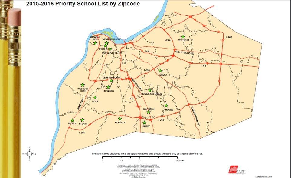Map of JCPS priority schools