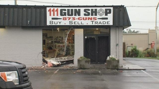 The 111 Gun Shop in Jeffersontown was burglarized after someone rammed a pickup truck into the front entrance in the early morning hours of July 28, 2016.
