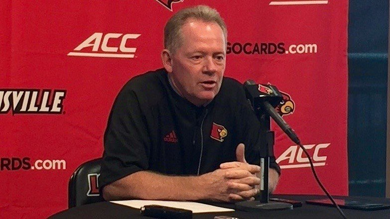 Louisville coach Bobby Petrino talks about the start of 2016 practice. WDRB photo by Eric Crawford.