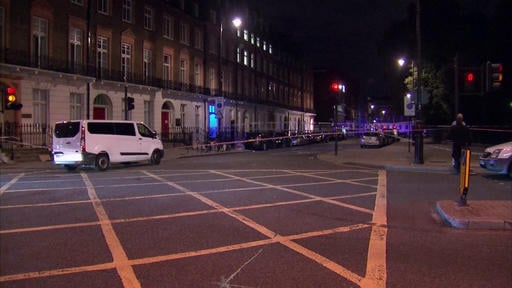 (Sky News via AP). The area where a knife attack happened is cordon off in London Thursday, Aug. 4, 2016.