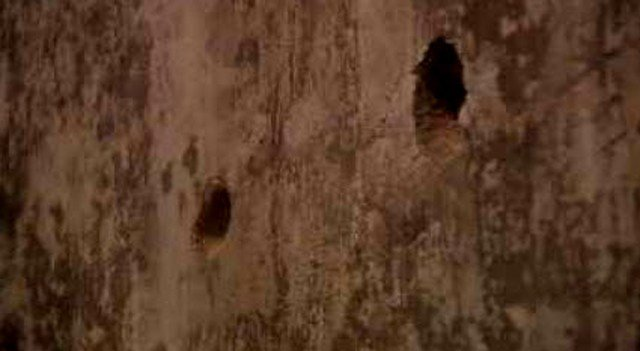According to legend, outlaw Jessie James put these bullet holes in the walls when he became upset during a poker game.