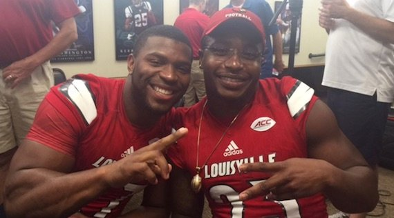 L. J. Scott (left) and Brandon Radcliff are determined to improve Louisville's running attack in 2016.