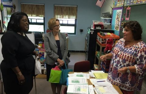 Newly named JCPS chief academic officer Lisa Herring and Superintendent Donna Hargens meet with staff at Jacob Elementary on Monday, Aug. 15, 2016 (photo by Toni Konz, WDRB News)