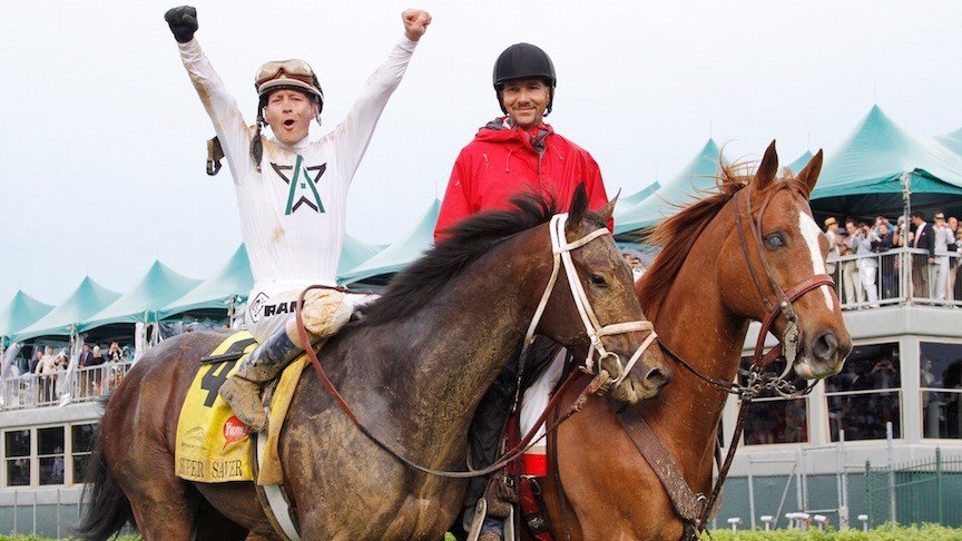Calvin Borel celebrates after winning the Kentucky Derby aboard Super Saver. (Photo courtesy of Churchill Downs/Reed Palmer Photography)