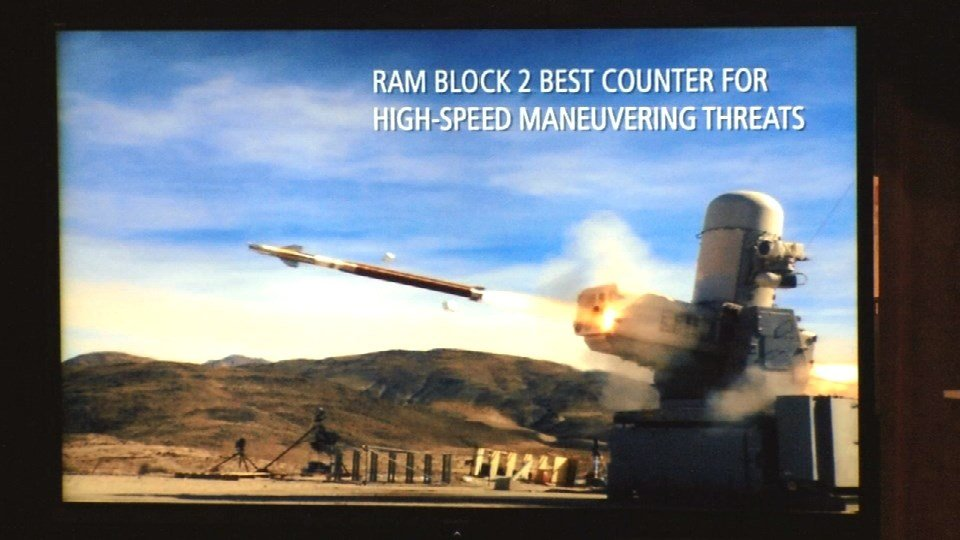 The Raytheon SeaRAM weapon, shown in a company video played August 16, 2016