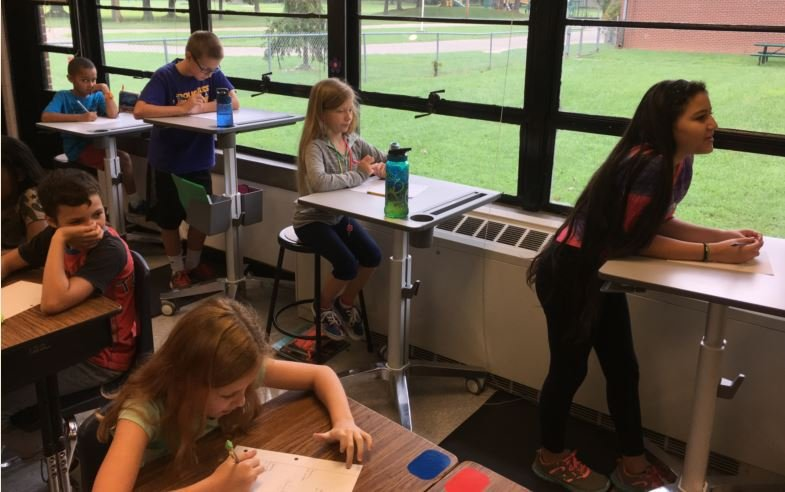 Standing desks were added to Wilder Elementary as part of the school's effort to increase movement (Photo by Pete Ruiz, WDRB News)