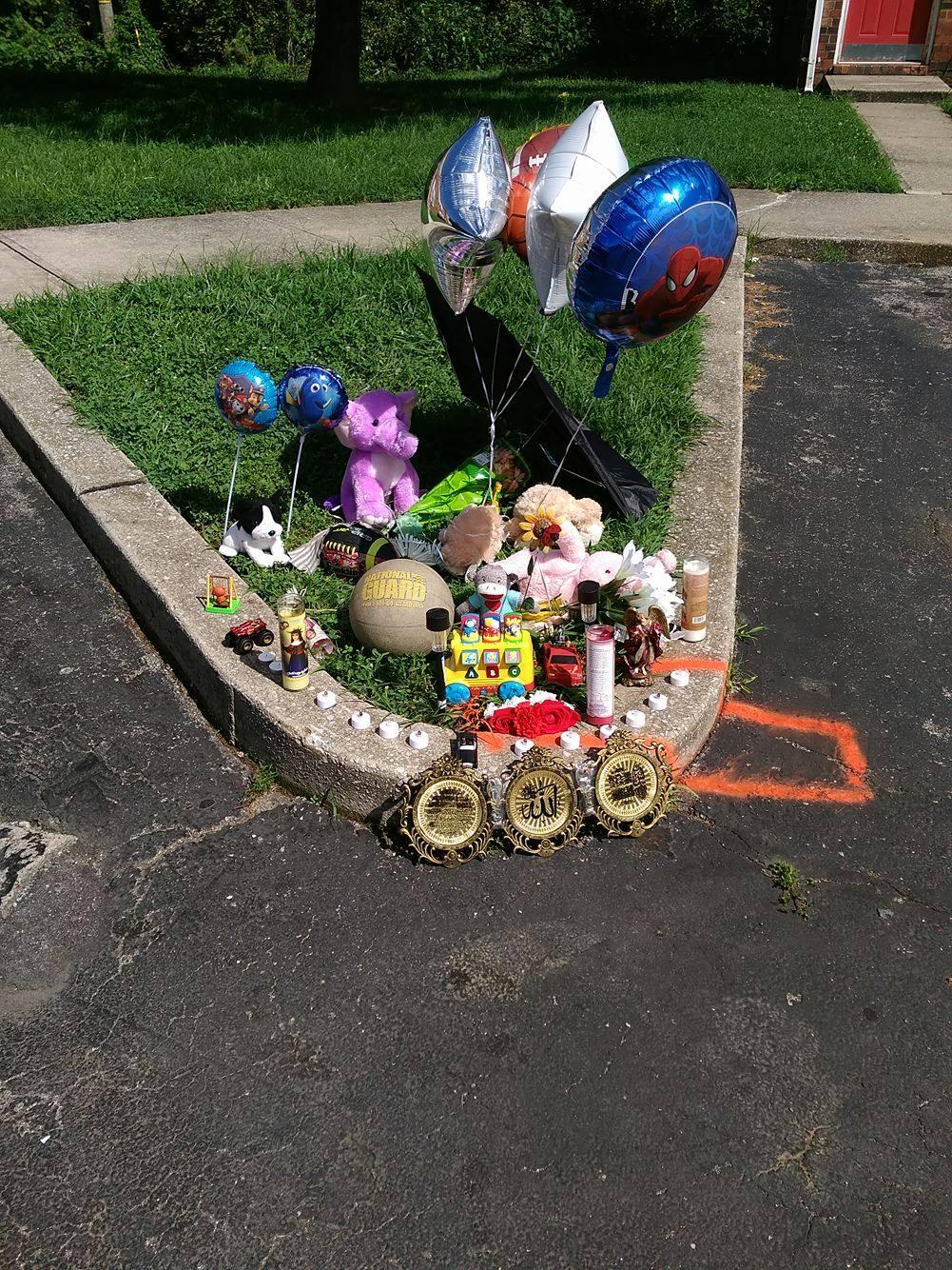 A memorial set up by neighbors.