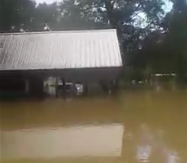 The LeFors home during recent flooding in Louisiana (courtesy of Facebook)