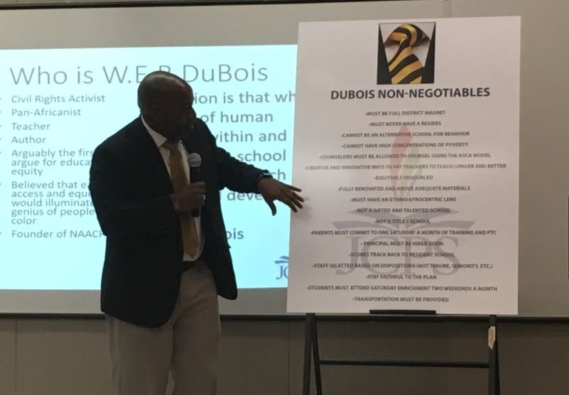 JCPS chief equity officer John Marshall presents the district's plan to create the W.E.B. DuBois Academy for males of color in 2017-18