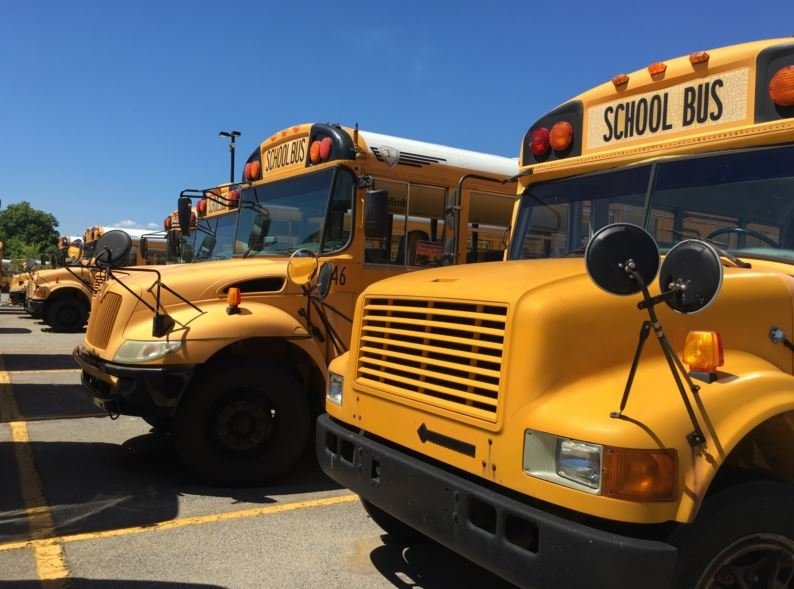 JCPS buses at the Jacob bus compound on June 10, 2016.
