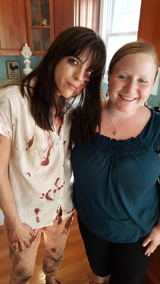 Actress Selma Blair poses with Morgan Compton, Tina Mills' daughter.