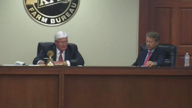 """Republican U.S. Sen. Rand Paul and Democratic challenger Jim Gray both took questions from the Kentucky Farm Bureau board of directors on Thursday at its """"Measure the Candidates"""" forum."""