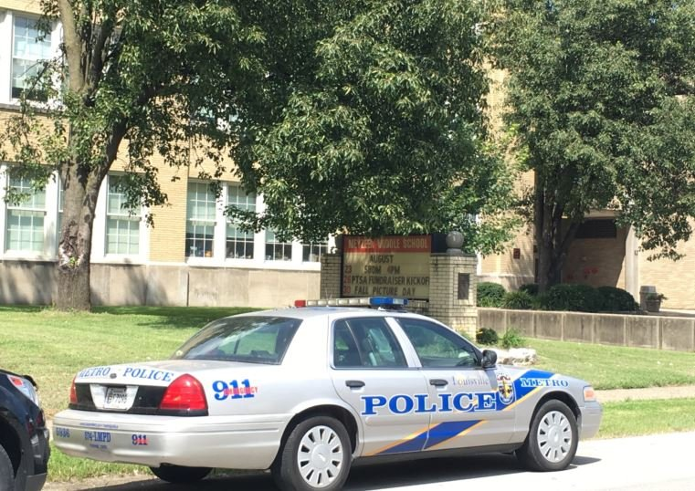 Crisis teams have been called out to a number of JCPS schools, including Meyzeek Middle, to help students cope with recent violence (Photo by Toni Konz, WDRB News)