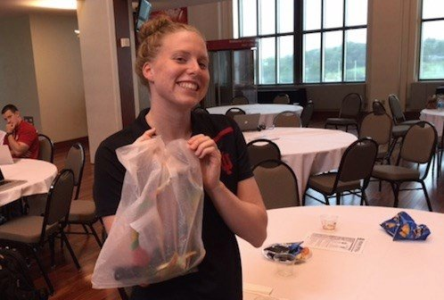 Lilly King carried her two Olympic gold medals in a Target shopping bag Friday at Indiana University.