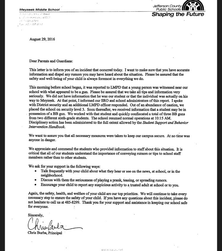 The letter sent home with students after the incident.