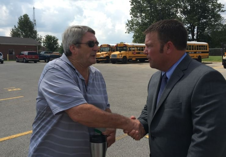 JCPS transportation director Randy Frantz meets with bus drivers on Wednesday at the Jacob bus compound (Photo by Toni Konz, WDRB News)