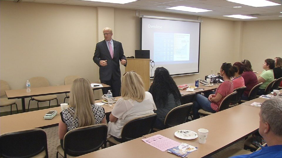 Harrison County Prosecutor Otto Schalk spoke to social workers and educators today at an event hosted by the Indiana Youth Institute.