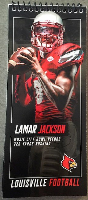 The Lamar Jackson notebook produced for this year's ACC Media Days. (WDRB photo)