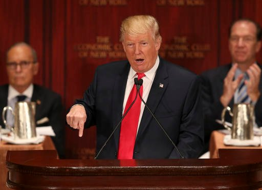 (AP Photo/Seth Wenig). Republican presidential candidate Donald Trump speaks at luncheon for the Economic Club of New York in New York, Thursday, Sept. 15, 2016.